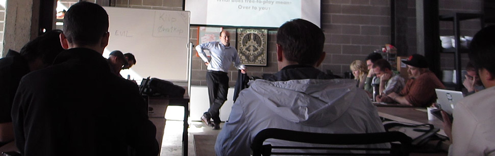 Nicholas Lovell speaking at a GAMESbrief F2P Masterclass