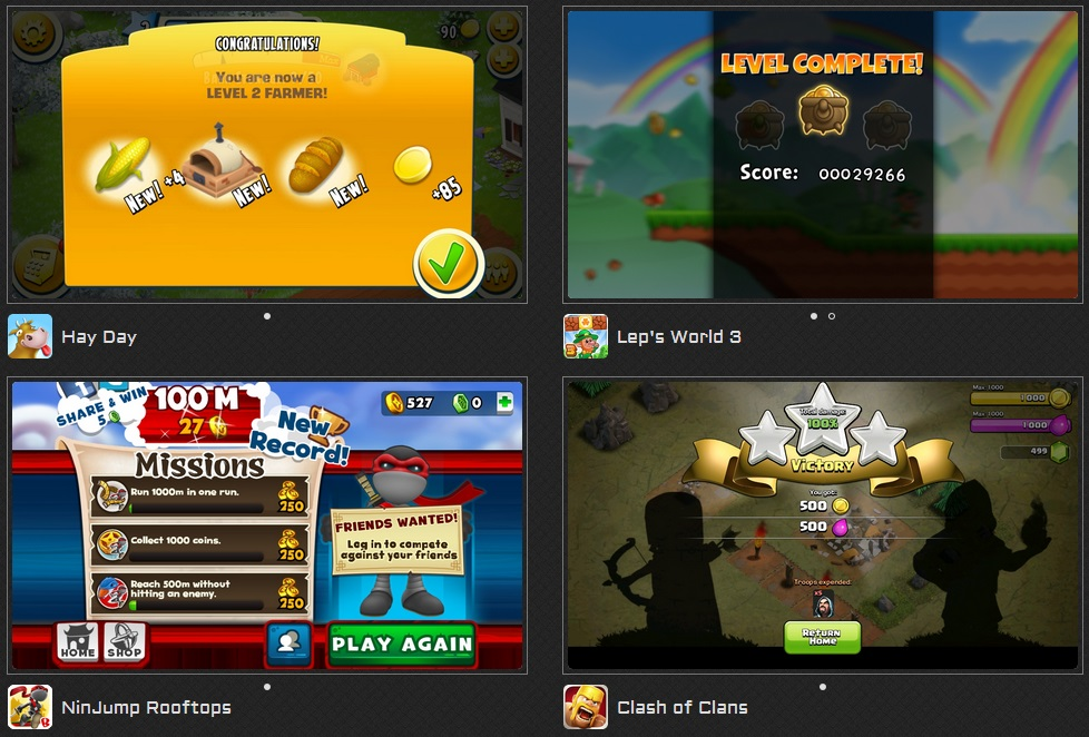 level complete screens