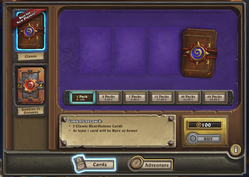 Blizzard's Hearthstone on iPad, Android Tablets and PC has only one currency that is earned when players finish daily quests, it has the same purchasing power as real money.
