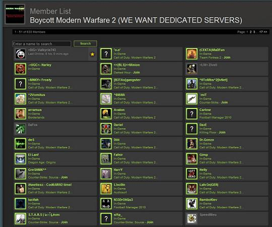 Boycotting players playing Modern Warfare 2
