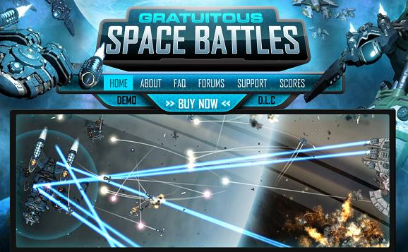 screenshot of the Gratuitous Space Battles homepage