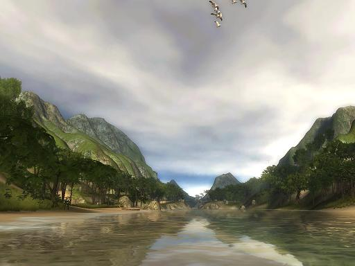 A screen capture from Unity\'s tropical paradise demo