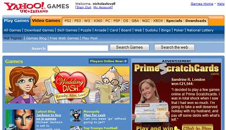 Yahoo Games screenshot